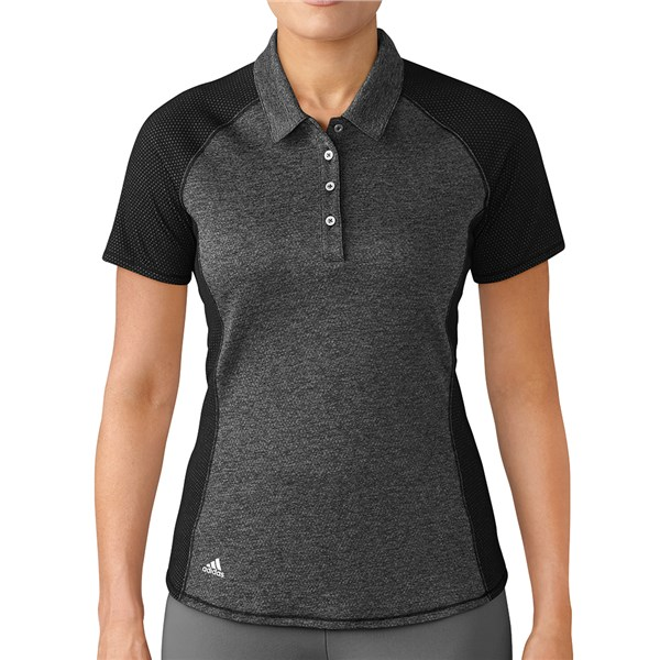 adidas Ladies Short Sleeve Melange Stripes Polo Shirt