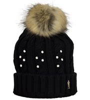 Ladies Crystal Embellished Cable Golf Bobble Beanie Hat