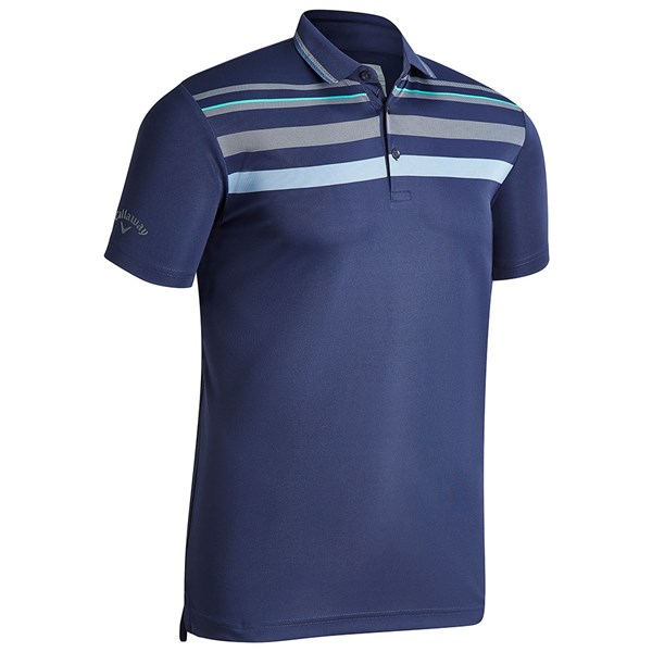 Callaway Mens Birdseye Chest Stripe Polo Shirt