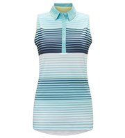 Callaway Ladies 3 Colour Stripe Sleeveless Polo Shirt