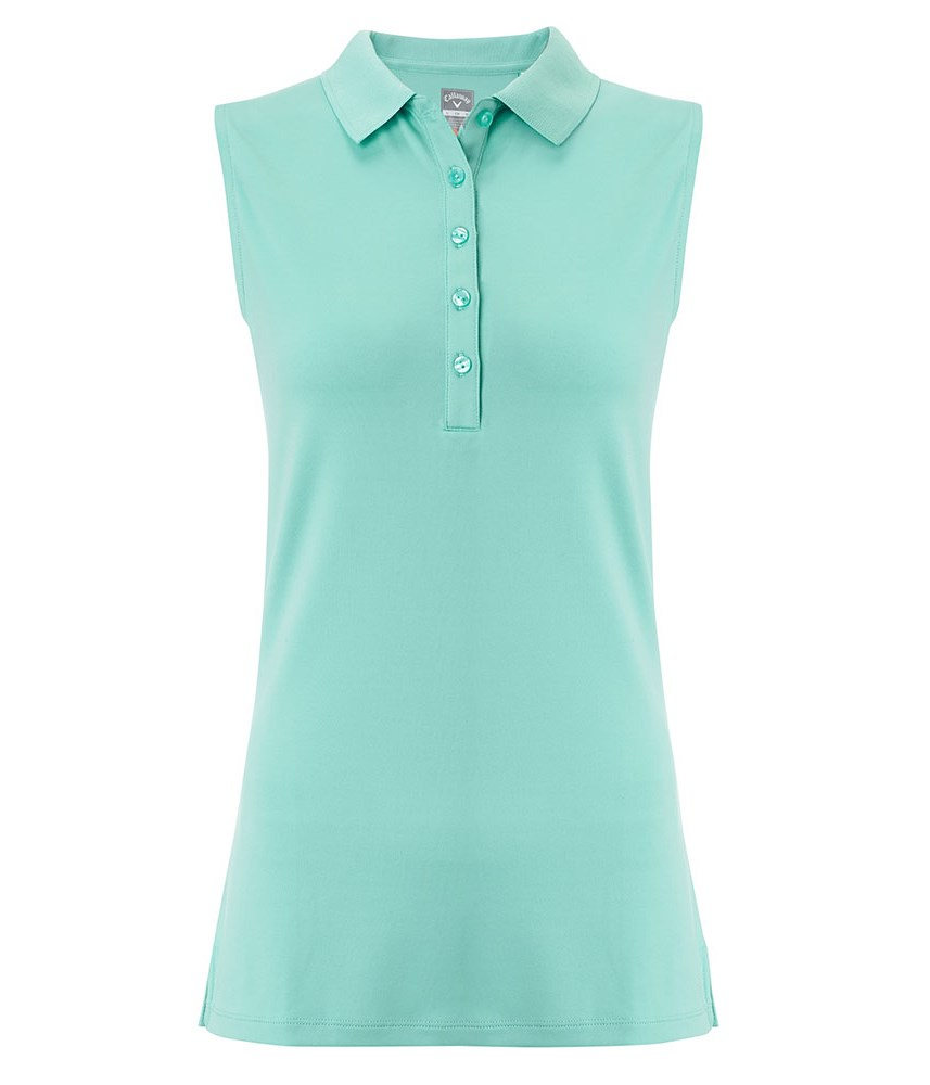 Callaway ladies classic chev sleeveless solid polo shirt for Ladies sleeveless golf polo shirts
