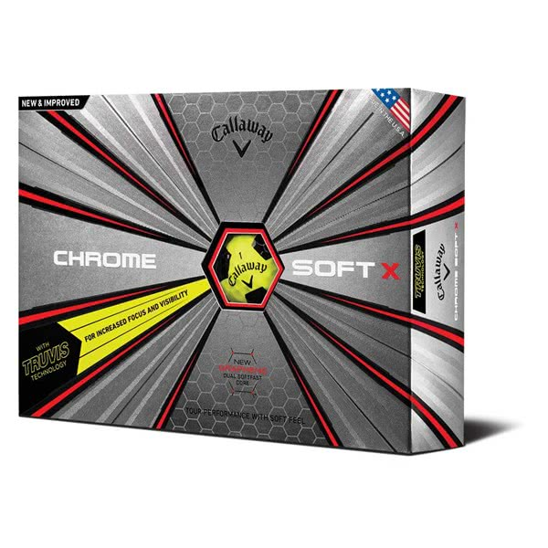 Callaway Chrome Soft X Truvis Yellow Black Golf Balls (12 Balls) 2019