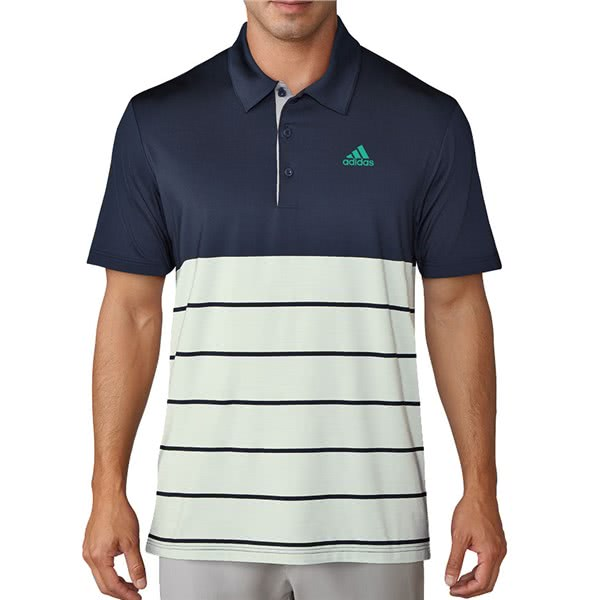 adidas Mens Ultimate 365 Heather Block Polo Shirt (Logo on Chest)