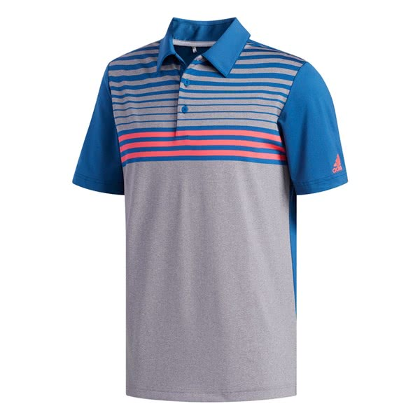 adidas Mens Ultimate 365 3-Stripes Heather Polo Shirt