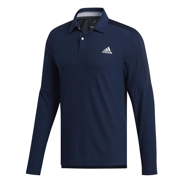 adidas Mens Sport Long Sleeve Polo Shirt