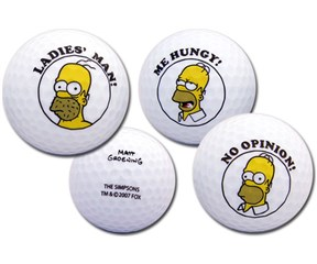 Simpsons Golf Ball Set  3 Balls