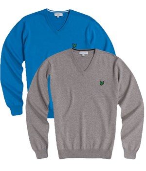 Lyle and Scott Mens Green Eagle V-Neck Sweater