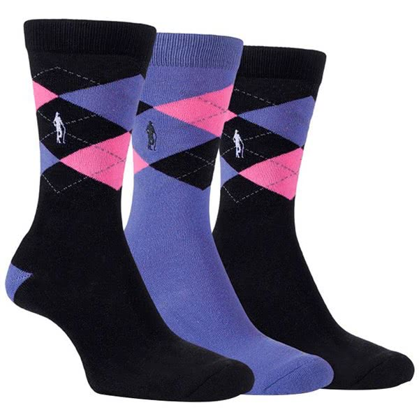 Glenmuir Ladies Alice Argyle Jacquard Socks Gift Box (3 Pairs)