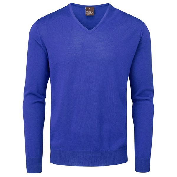 Oscar Jacobson Mens Weston Pin V Neck Merino Sweater