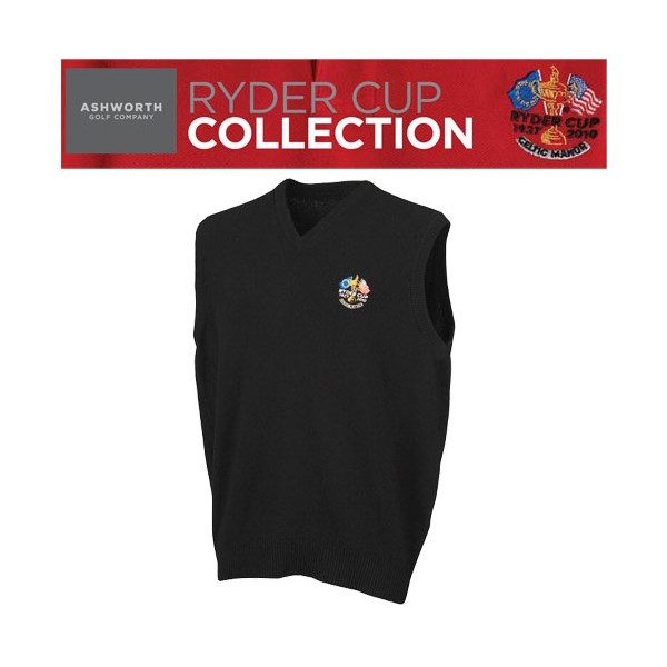 Ashworth Mens Ryder Cup  Edition High V Neck Lambswool Vest