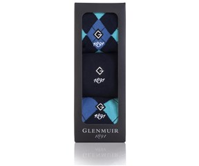 Glenmuir Mens Argyle Golf Socks Gift Box  3 Pairs