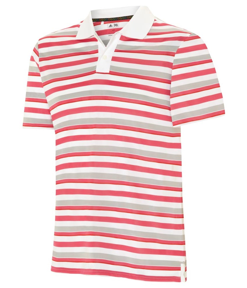 Adidas mens fp rugby stripe polo shirt golfonline for Pink and purple striped rugby shirt