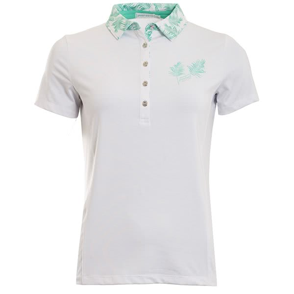 Green Lamb Ladies Peggy Palm Print Trim Polo Shirt
