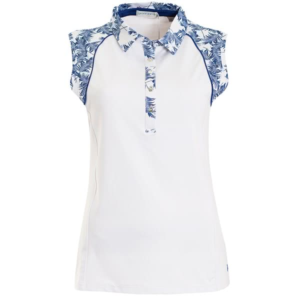 d57d00435ead9 Green Lamb Ladies Piper Sleeveless Print Trim Polo Shirt. Double tap to  zoom. 1 ...
