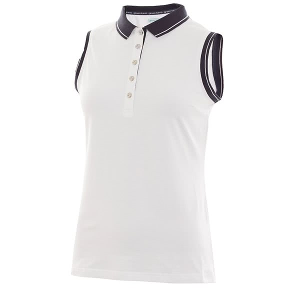 Green Lamb Ladies Pam Jersey Club Sleeveless Polo Shirt