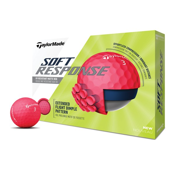 TaylorMade Soft Response Matt Red Golf Balls (12 Balls)