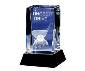Crystal Longest Drive Golf Trophy