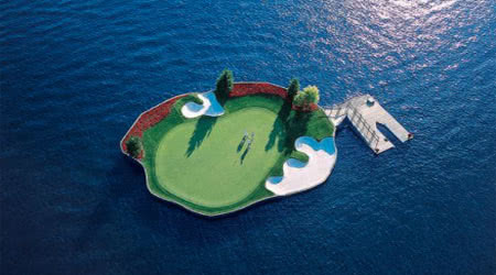Check out the World's First and Only Floating Golf Green