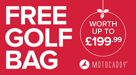 Purchase a Motocaddy Trolley today and claim your free golf bag